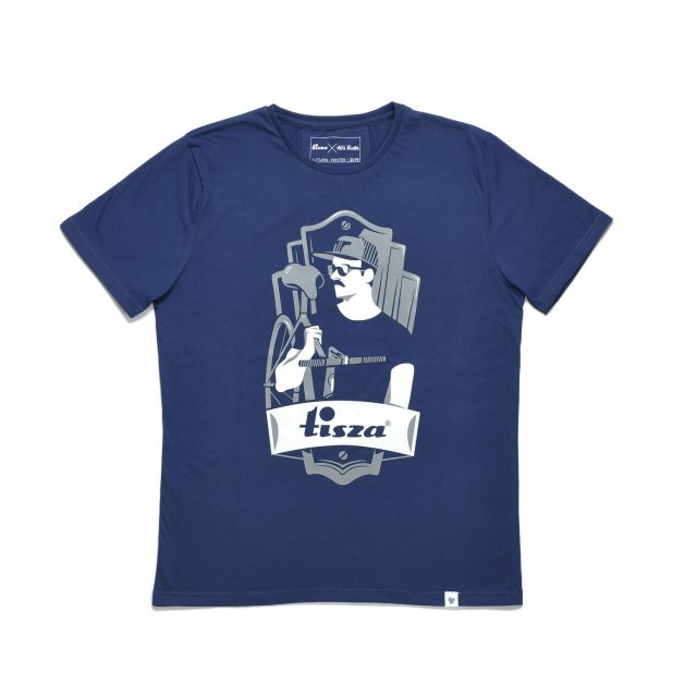 Tisza shoes - T-shirt - Navy-bike