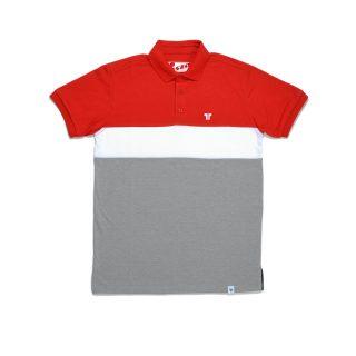 Tisza shoes - Tennis shirt - Red-white-grey